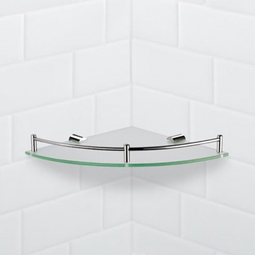 Corner Glass Shelf With Chrome Mounting